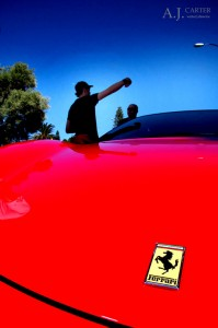 Director A.J. Carter on set of Exotic Engagement with the Ferrari F430 - Perth, Western Australia