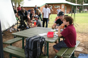 Director A.J Carter  works with actor David Lazarus on set of Ronan's Escape
